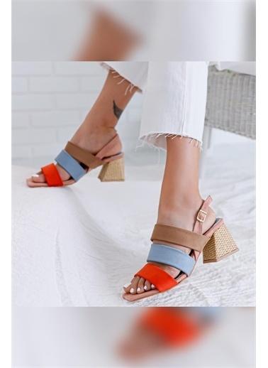 Limoya Ten Kırmızı Pudra Alçak Hasır Topuklu Sandalet Pudra